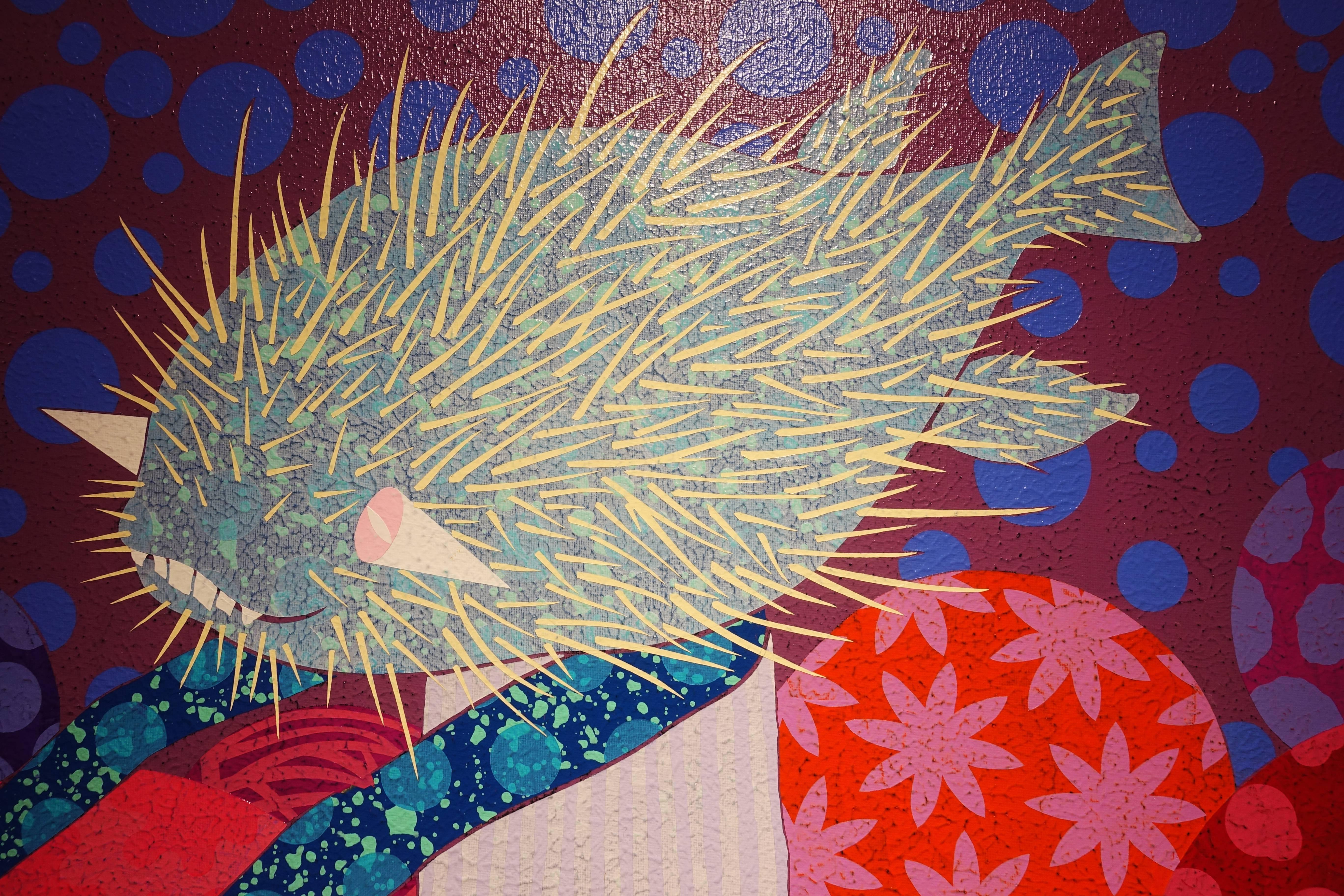 廖堉安,《膽小鬼進行曲Coward》,壓克力、畫布,80x80 cm,2015(細部圖)。