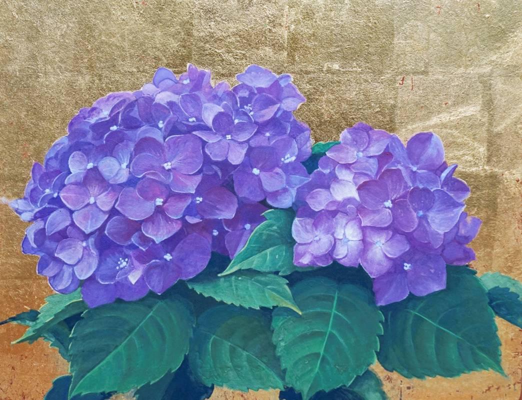 吳栩菲,色紫氣香,3F,2018,紙本岩繪具。圖/福華沙龍提供