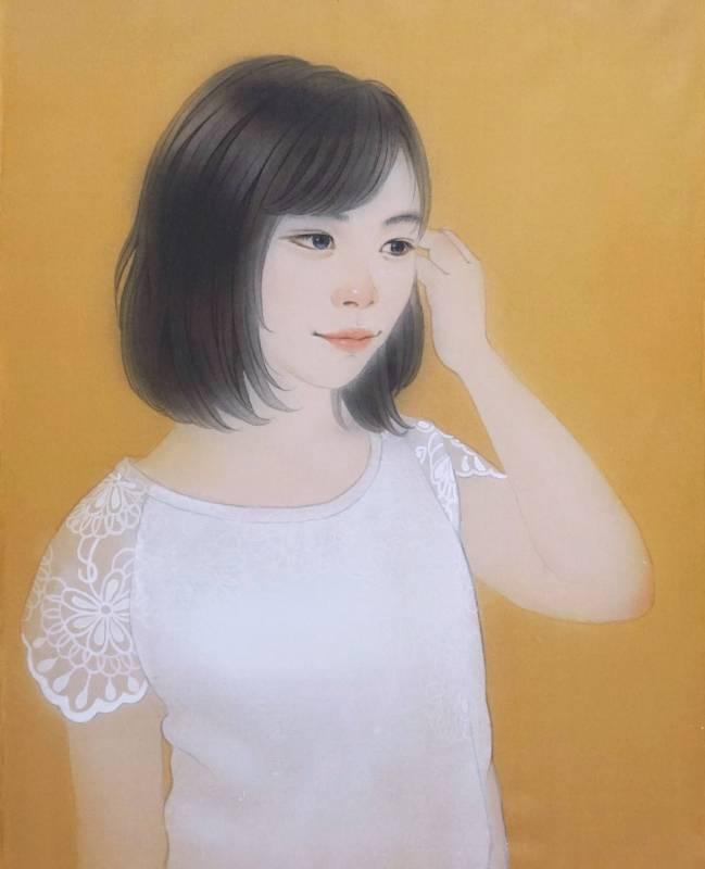 吳栩菲,挽,5F,絹本岩繪具,2018。圖/福華沙龍提供