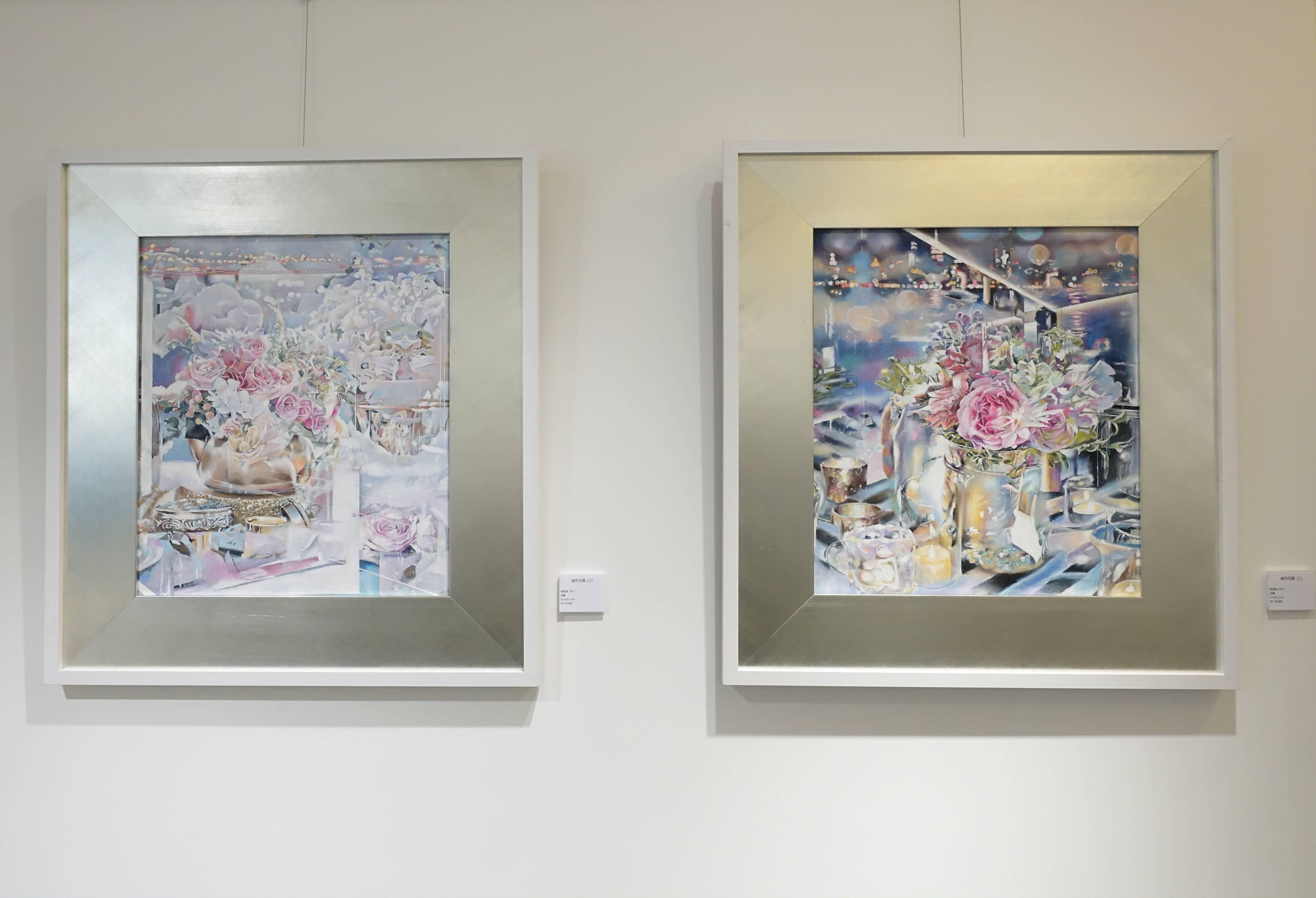 張絜廸,《城市花園 (三)、城市花園 (二)》,油畫,2017。