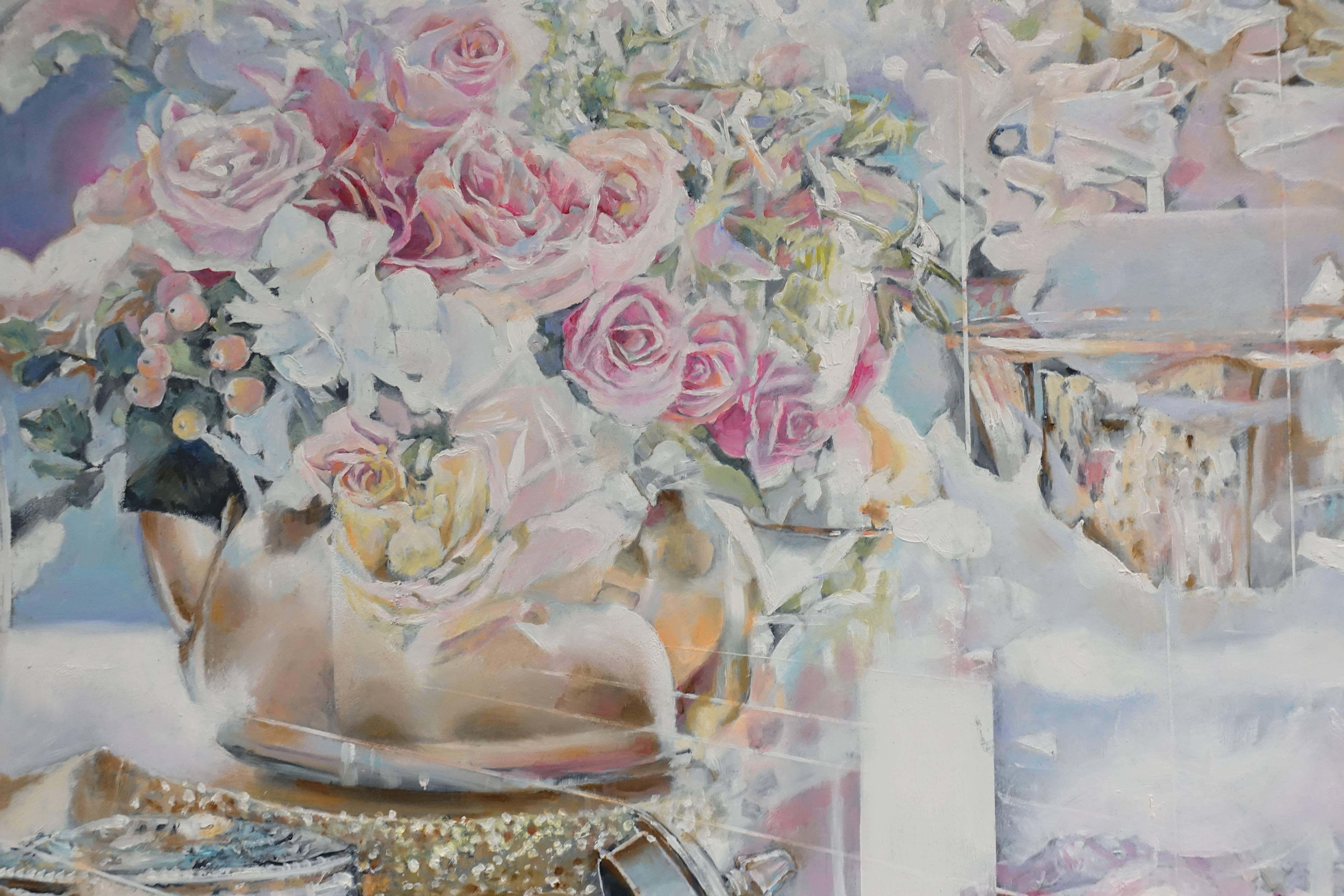 張絜廸,《城市花園 (三)》局部,油畫,2017。