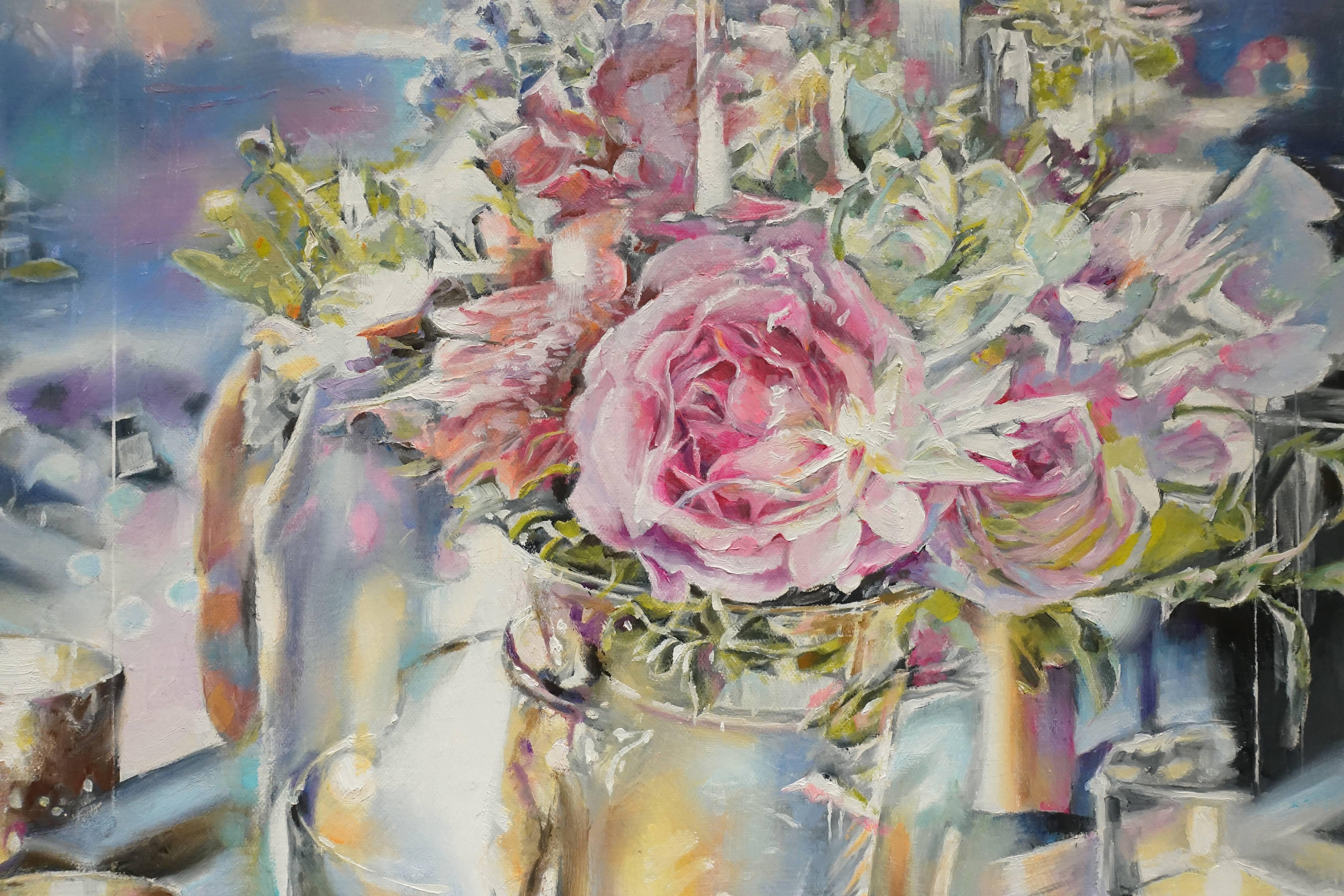 張絜廸,《城市花園 (二)》局部,油畫,2017。