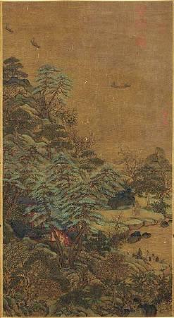 李思訓,《江帆樓閣圖》。