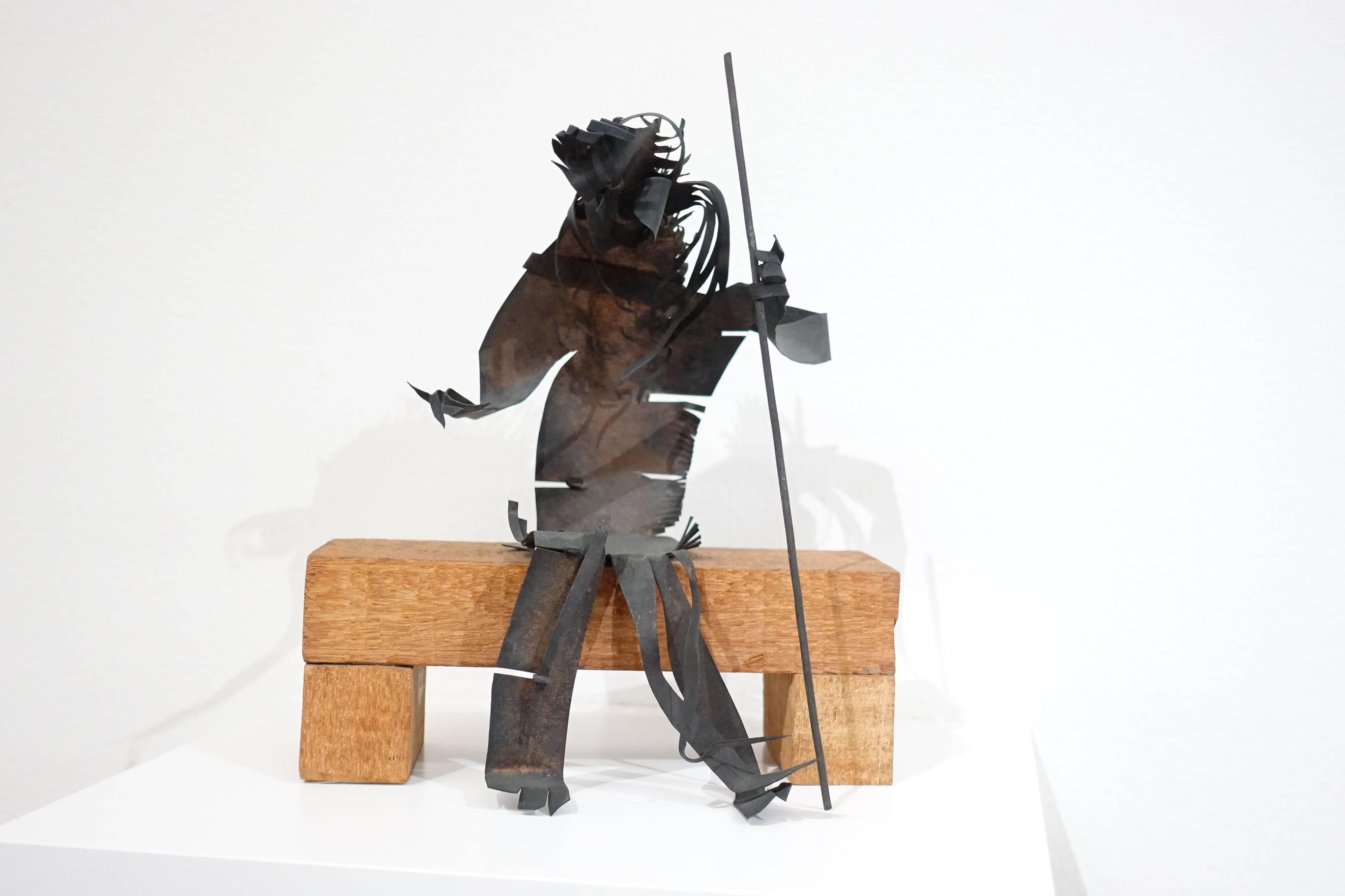 夏陽,持杖坐者,1990年。