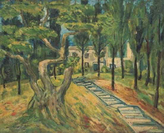 鄭世璠,《綠蔭》,1944年。圖取自台北市立美術館