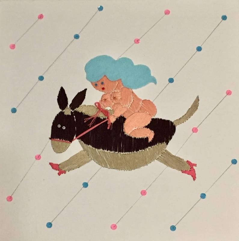Queen and donkey 淺間明日美 30X30cm Mixed Media