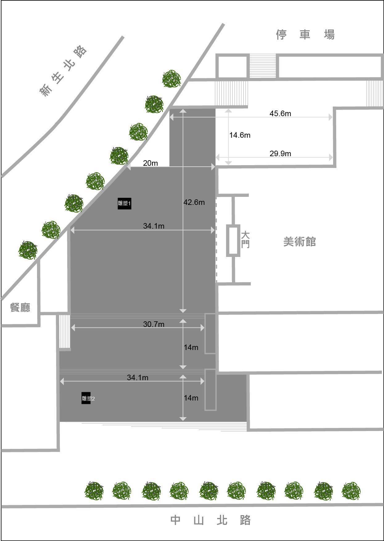 2019 X-site徵件 廣場平面尺寸圖。