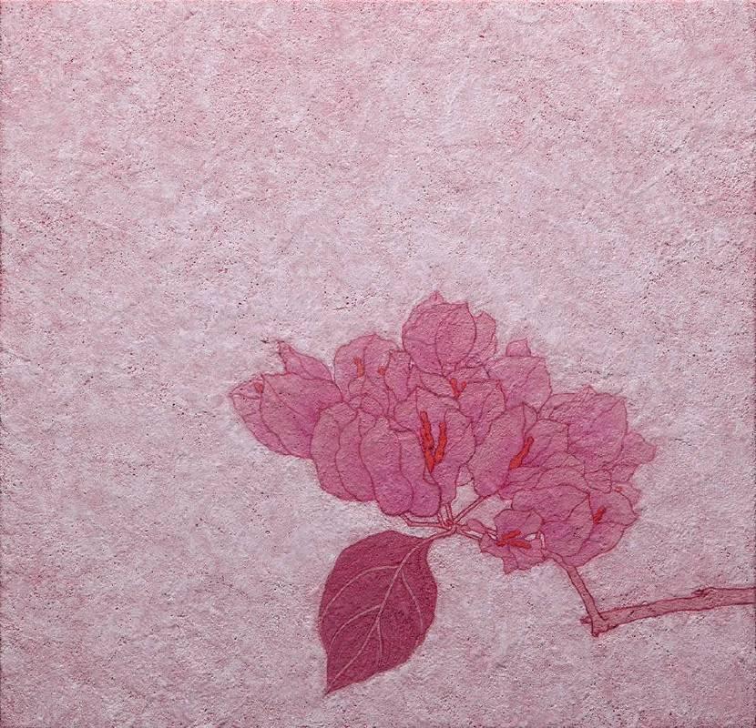 《靜靜聽妳說》 2018 膠彩、紙本 22.2 × 22.8 cm