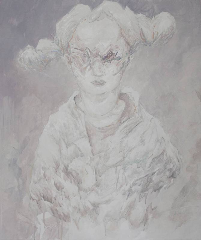 《痕跡(女孩02)》72.5x60.5cm,壓克力,2018