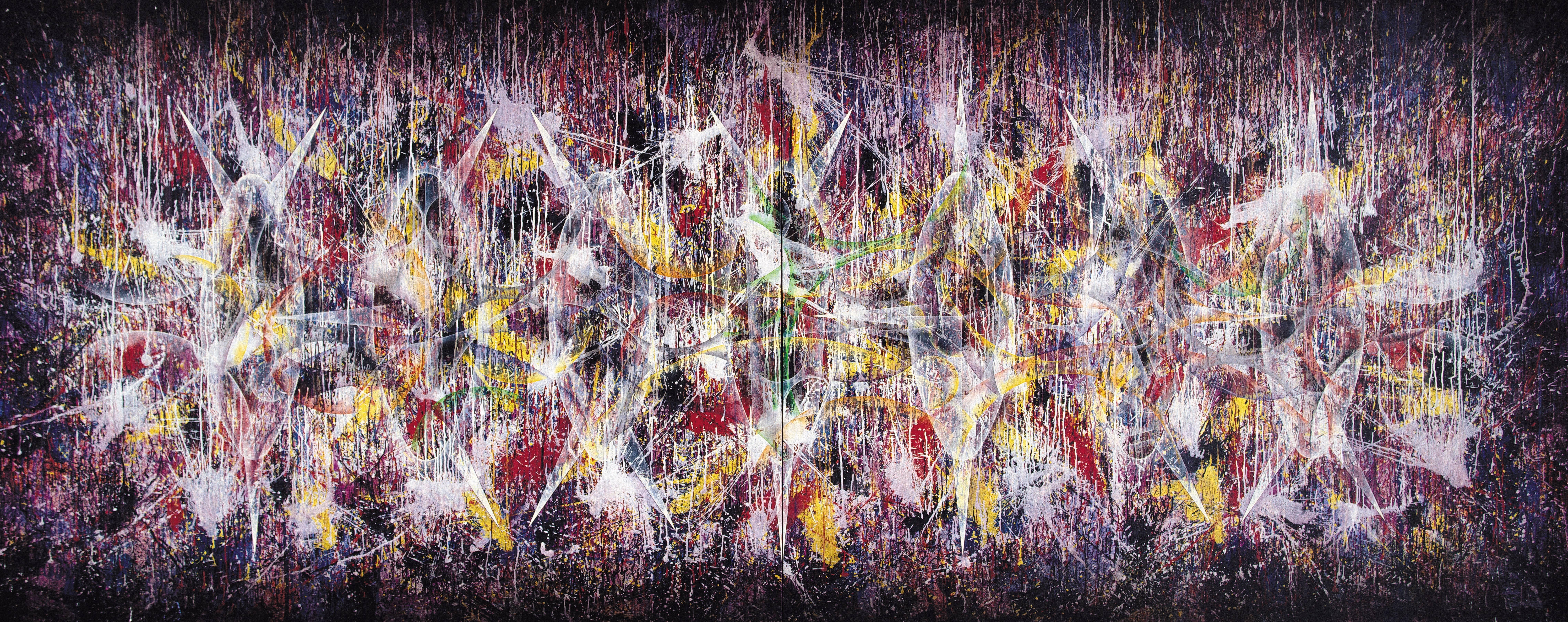 楊仁明|不安定的聯結-推敲的聯結|2002|壓克力、油彩|182x454cm