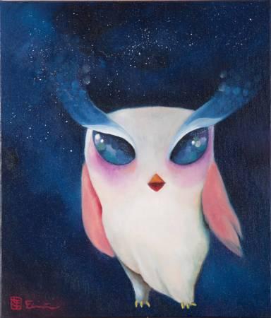 貓頭鷹小姐  Lady Owl | 油畫 | 45x53cm | 2015