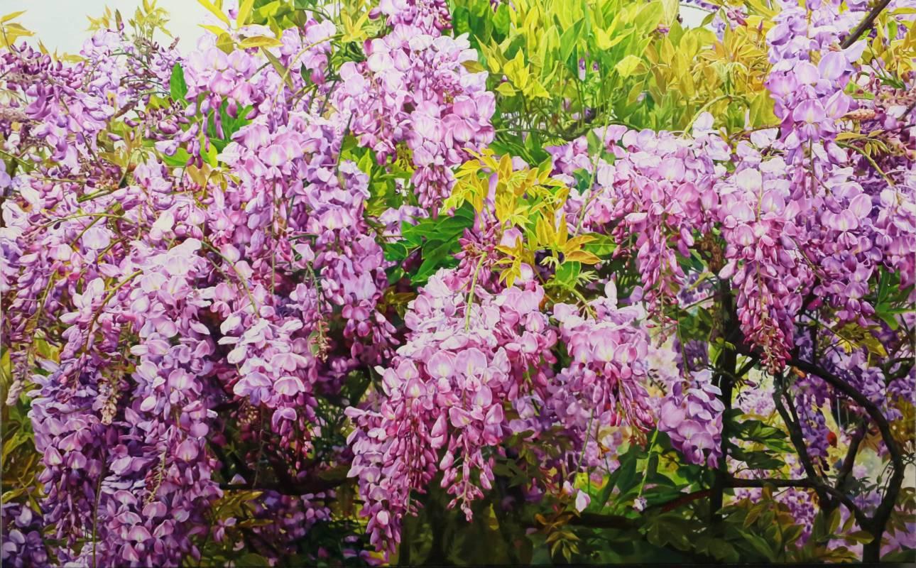 紫瀑流瀉 2018年 72.5×116.5cm(50M) 油彩畫布