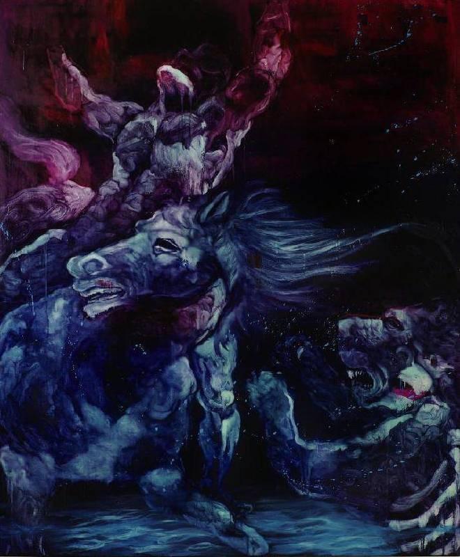 五花肉系列-肉宗教-江影獵殺 2010 油彩 200x240cm