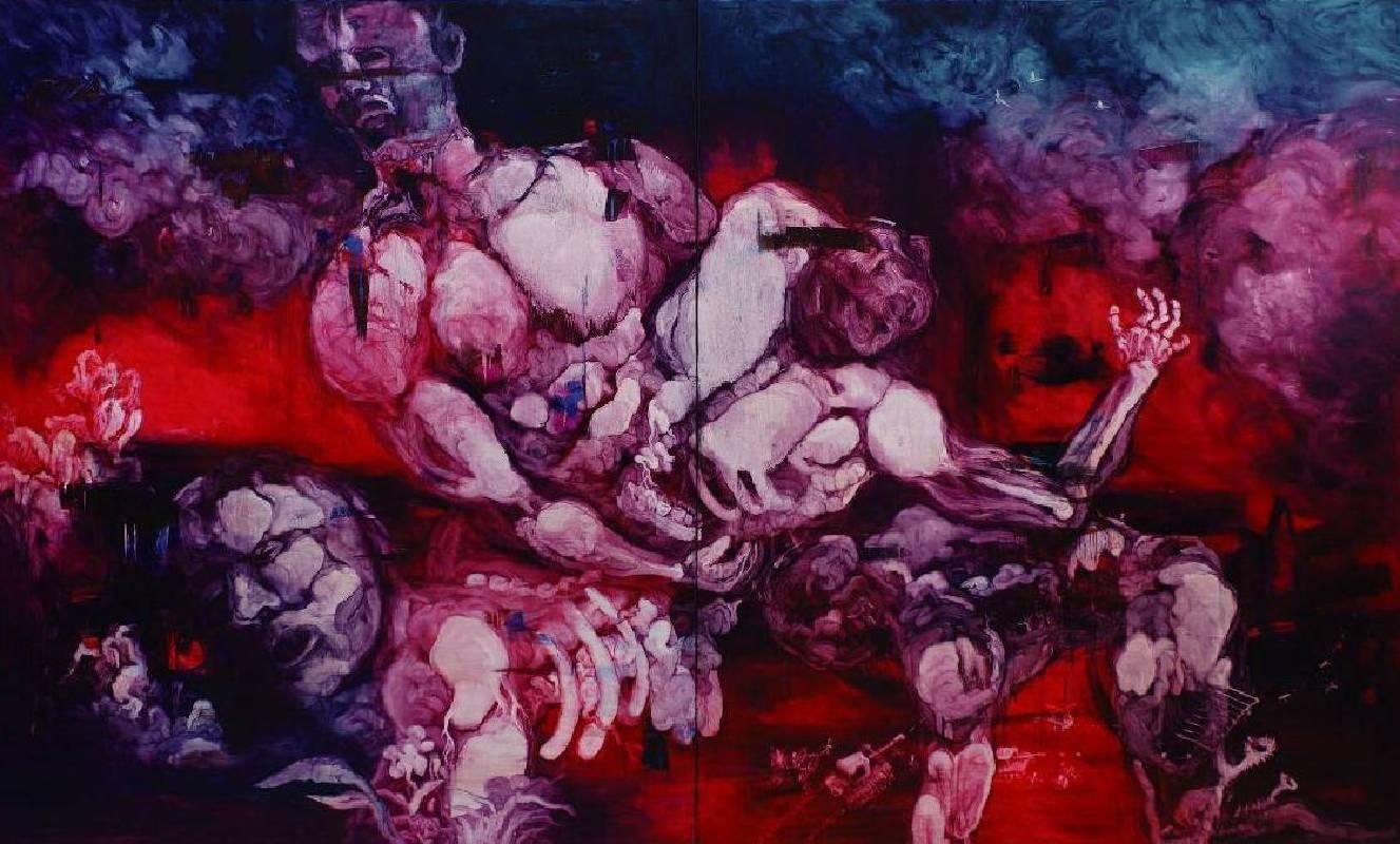 五花肉系列-肉宗教-肉世界再創記|2010|油彩|240x400cm(雙聯幅,單幅200x240cm)