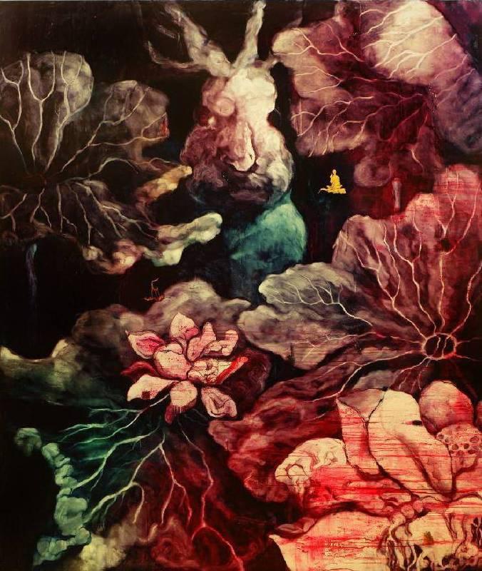 五花肉系列-肉宗教-兔兒神在花果山上 2009 油彩 191x227cm