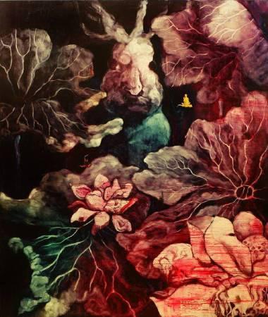 五花肉系列-肉宗教-兔兒神在花果山上|2009|油彩|191x227cm