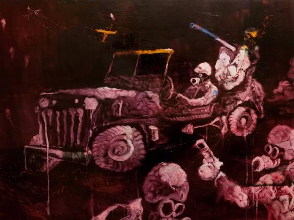 五花肉系列-肉宗教-戰神領土 2008 油彩 140x105cm