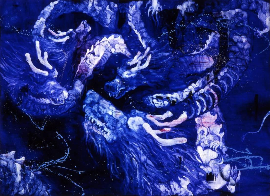 五花肉系列-肉花鳥-龍昇圖|2009|油彩|200x146cm