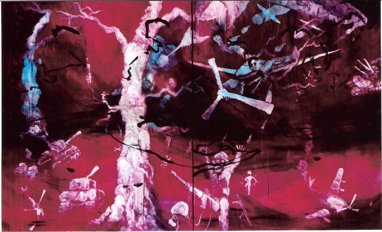 五花肉系列-肉兵器-夜漫天光肉戰爭|2008|油彩|227x364cm(300F)(雙聯幅/單幅227x182cm)