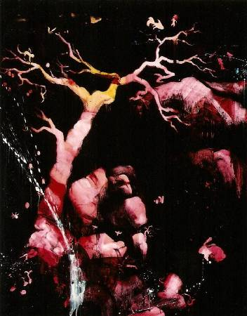 五花肉系列-肉花鳥-泉水小語圖|2007|油彩|100F