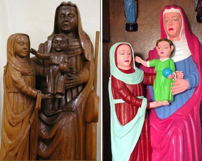 西班牙15世紀的聖母聖子像 「修復」毀成樂高人偶