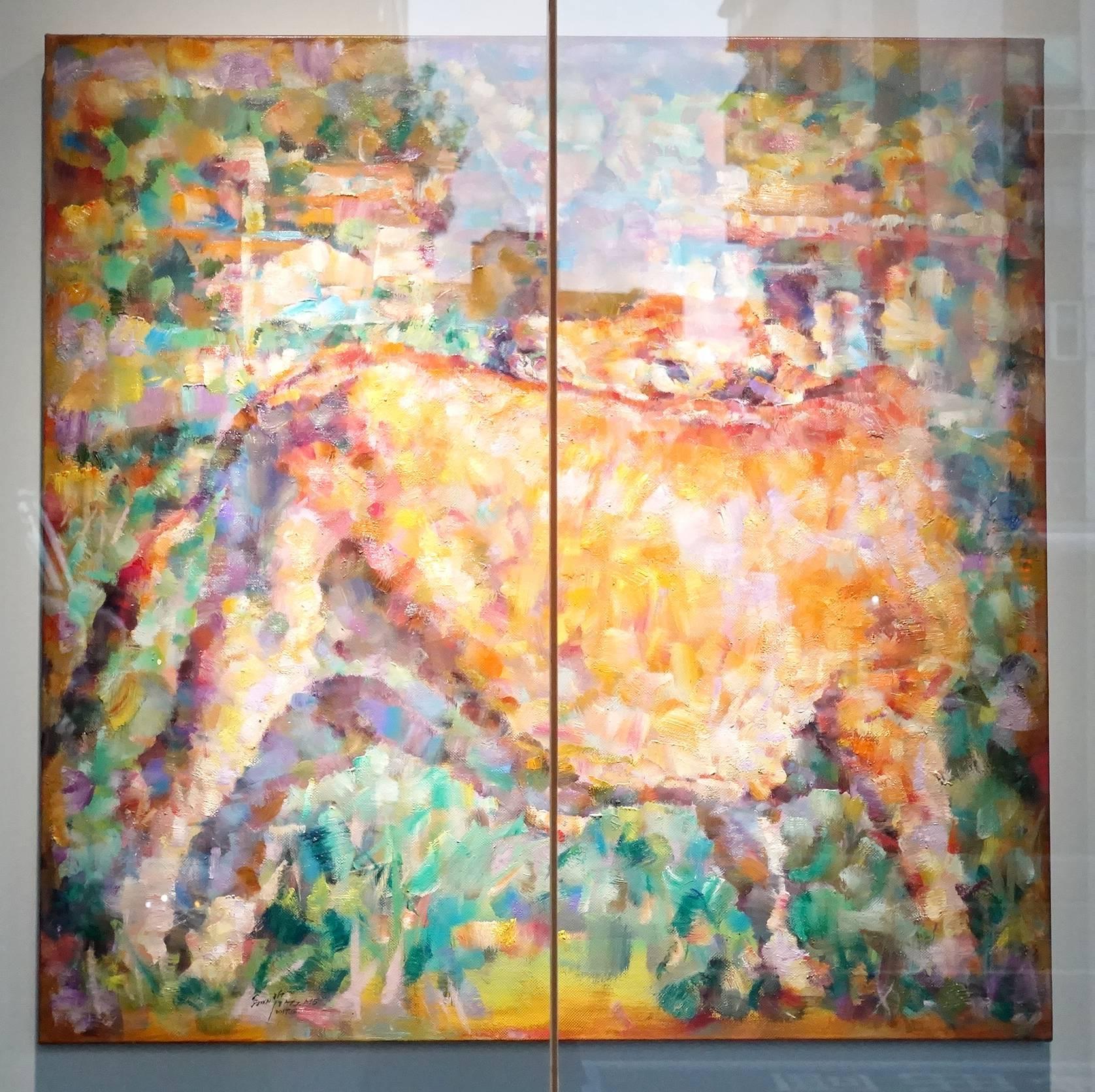 翁明哲作品《黃牛的回眸》,2017年。