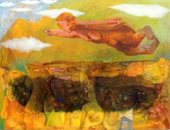 傅慶豊|在那白朗峰上|1990|油彩|91x116cm(50F)