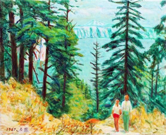 李石樵|鏡框湖風光|1987|油彩|15F