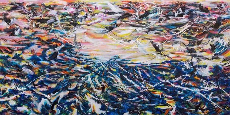 王淑鈴,吟唱的河流3,壓克力、油彩、畫布,193x390cm,2017-18。
