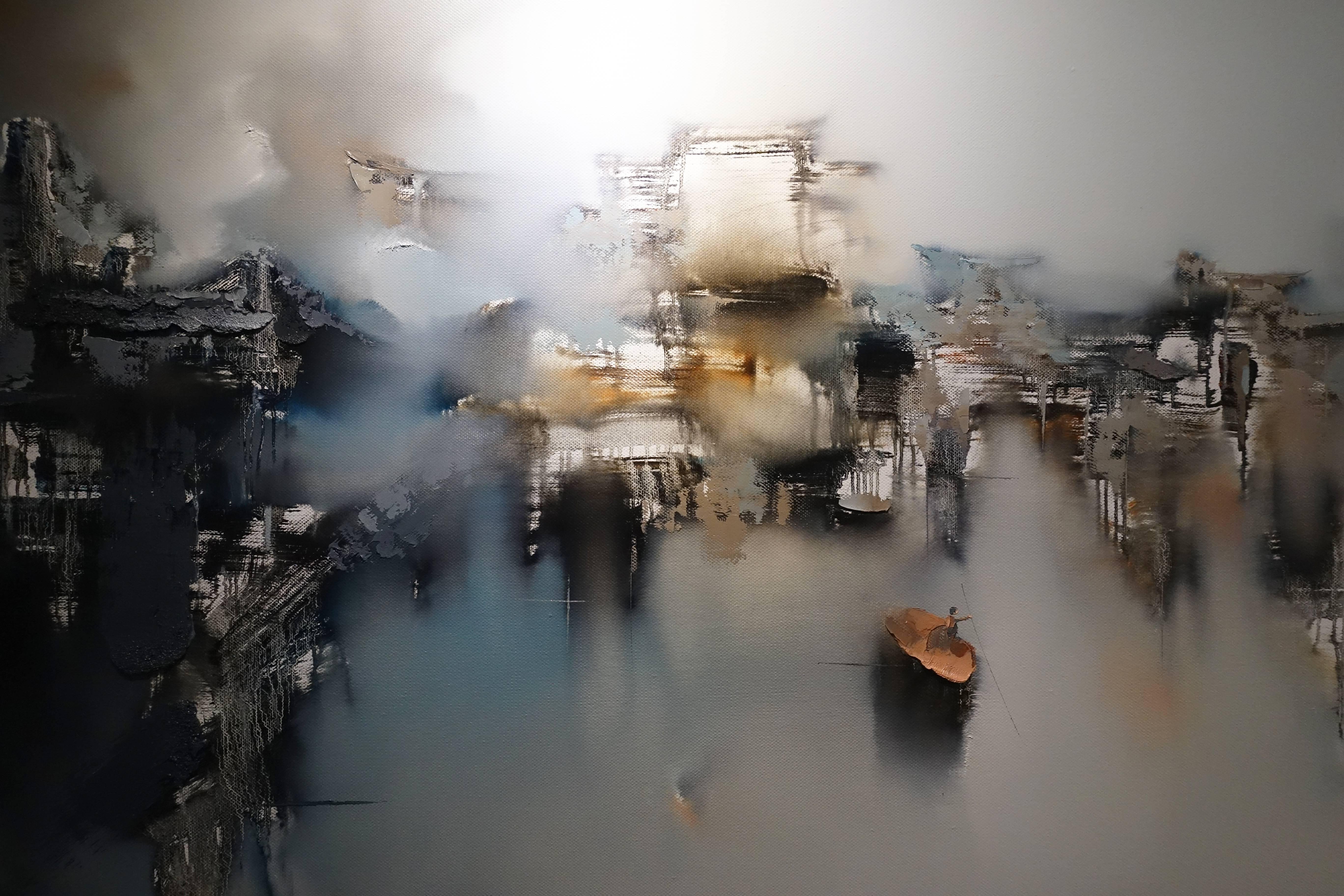 高小云,《蝶夢》局部,油畫畫布。