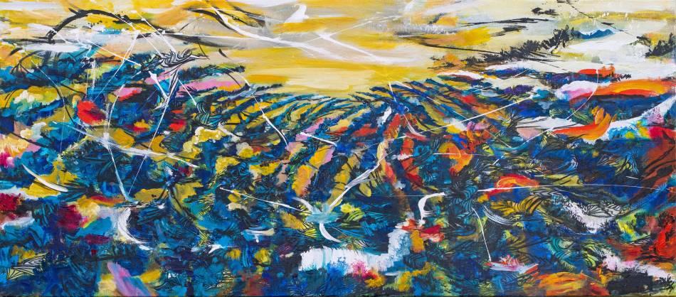 王淑鈴,吟唱的河流4,壓克力、油彩、畫布,82x185cm,2017-18。
