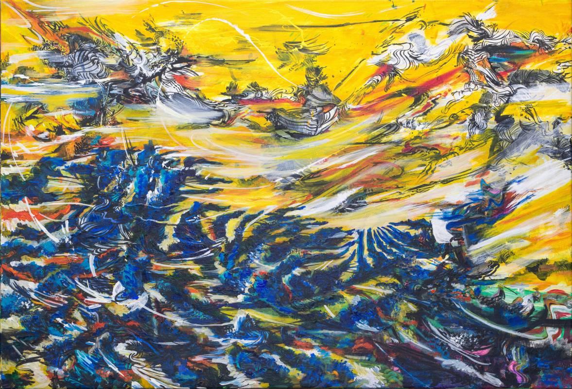 王淑鈴,吟唱的河流6,壓克力、油彩、畫布,106x152cm,2017-18。