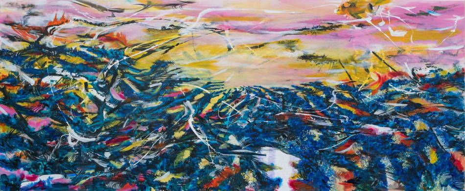 王淑鈴,吟唱的河流7,壓克力、油彩、畫布,100x250cm,2017-18。