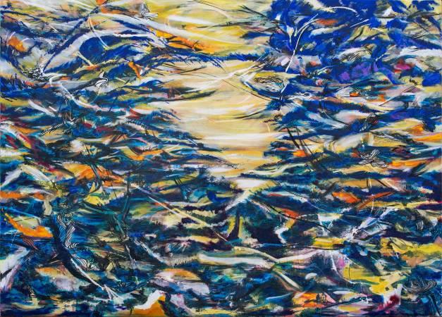 王淑鈴,吟唱的河流8,壓克力、油彩、畫布,200x280cm,2017-18。