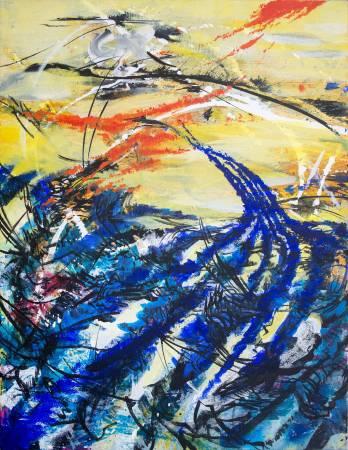 王淑鈴,吟唱的河流12,壓克力、油彩、畫布,106x82cm,2017-18。
