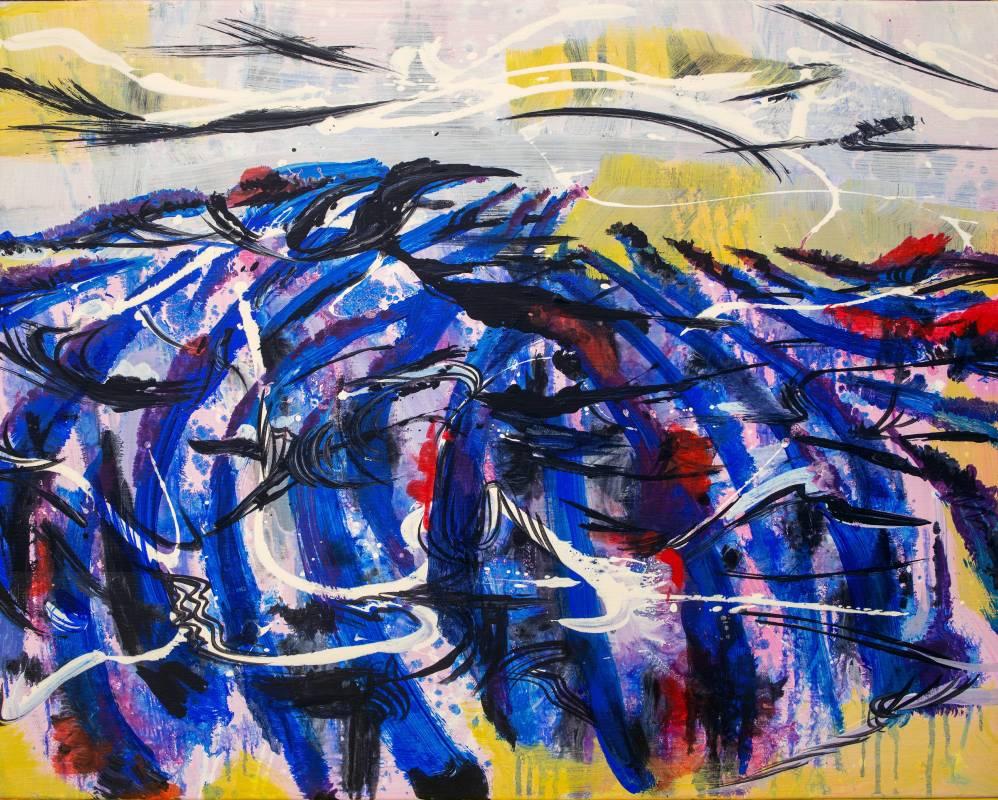 王淑鈴,無題,壓克力、油彩、畫布,53x65cm,2018。