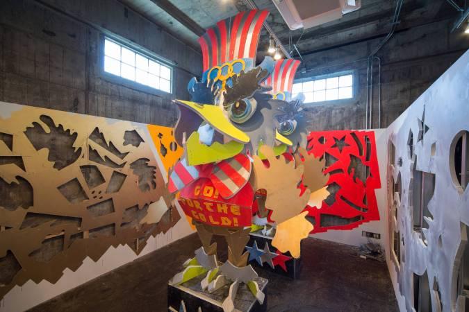 山下拓也Takuya Yamashita,《遲延龍5Chienron 5》。Takuya Yamashita, L.A.coHAMA OLYMPIC'14, 2014, Wall of BankART, paint