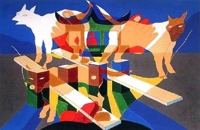 冷光系列–1, 48x64cm, 複合媒材, 1999