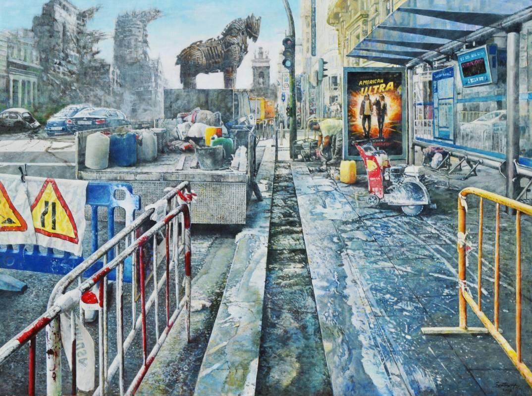 胡文賢,再造-特洛伊,2018年,97x130cm(60F),油彩.畫布 / Santos HU,Reconstruction-Troy,2018,97x130cm,Oil on canvas