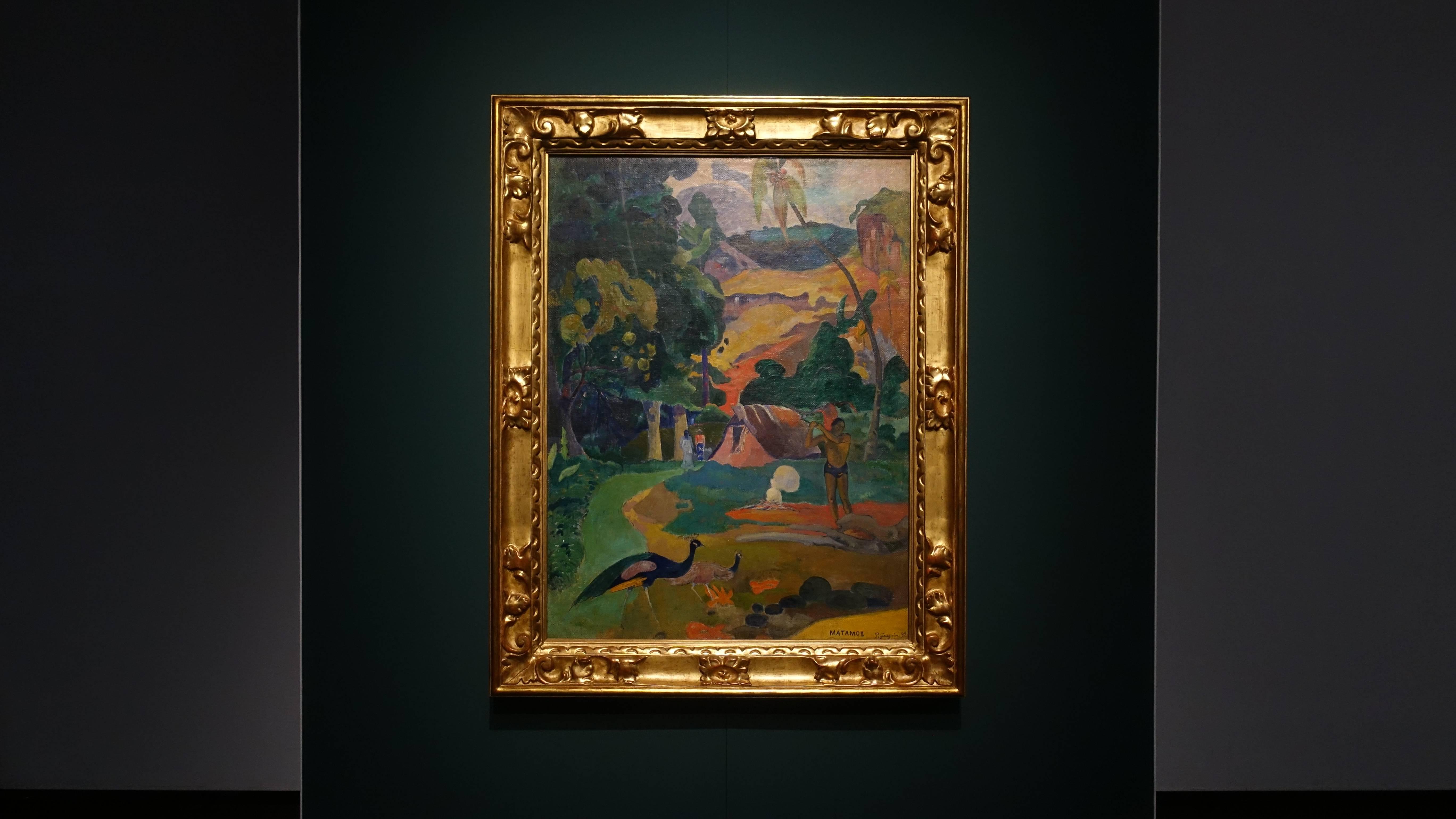 保羅•高更 Paul Gauguin,《有孔雀的風景MATAMOE. Landscape with Peacocks》,油彩、畫布 Oil on canvas,1892。