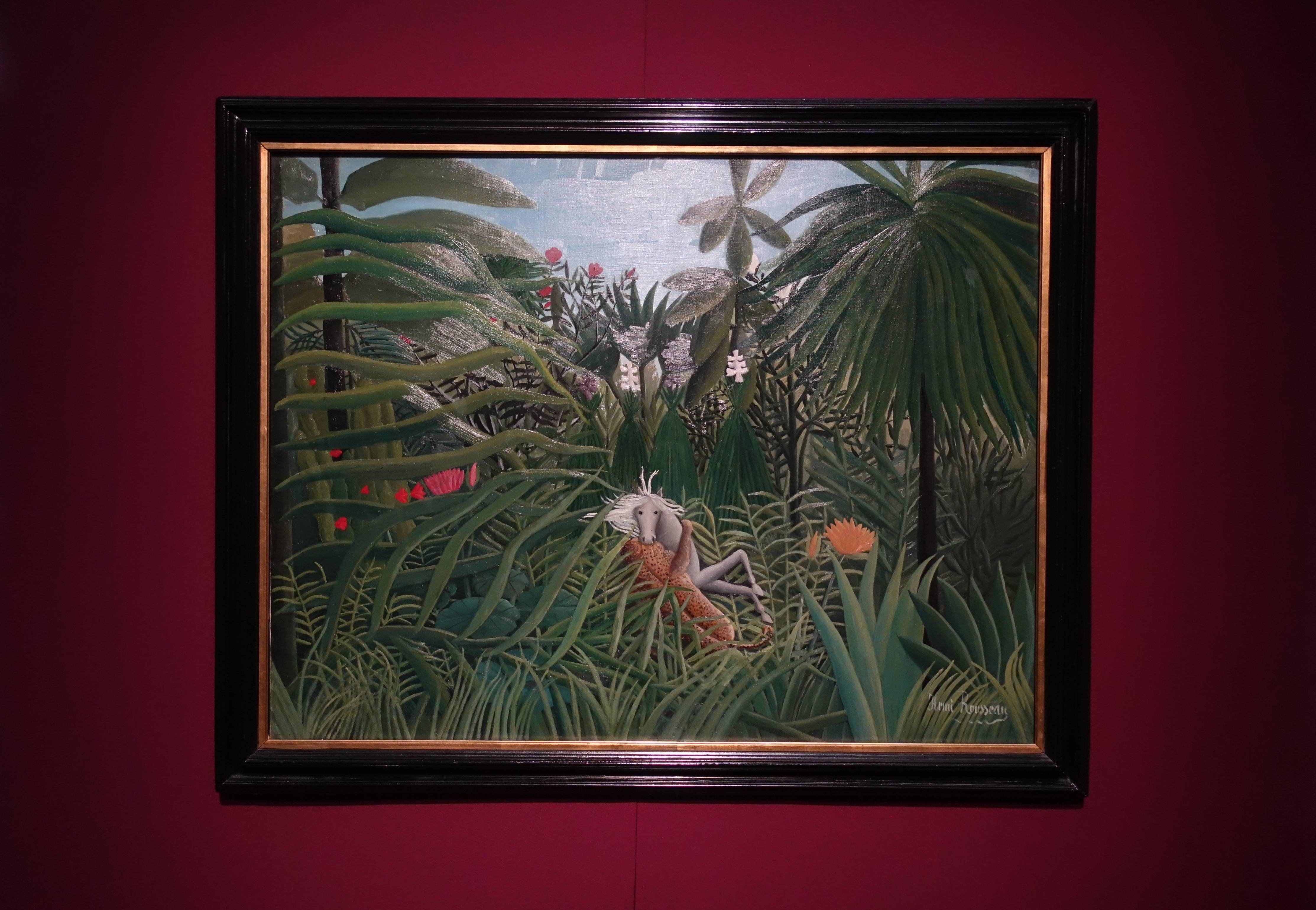 亨利‧盧梭 Henri Rousseau ,《美洲豹正在襲擊一匹馬 Jaguar Attacking a Horse》,油彩、畫布 Oil on canvas,1910。