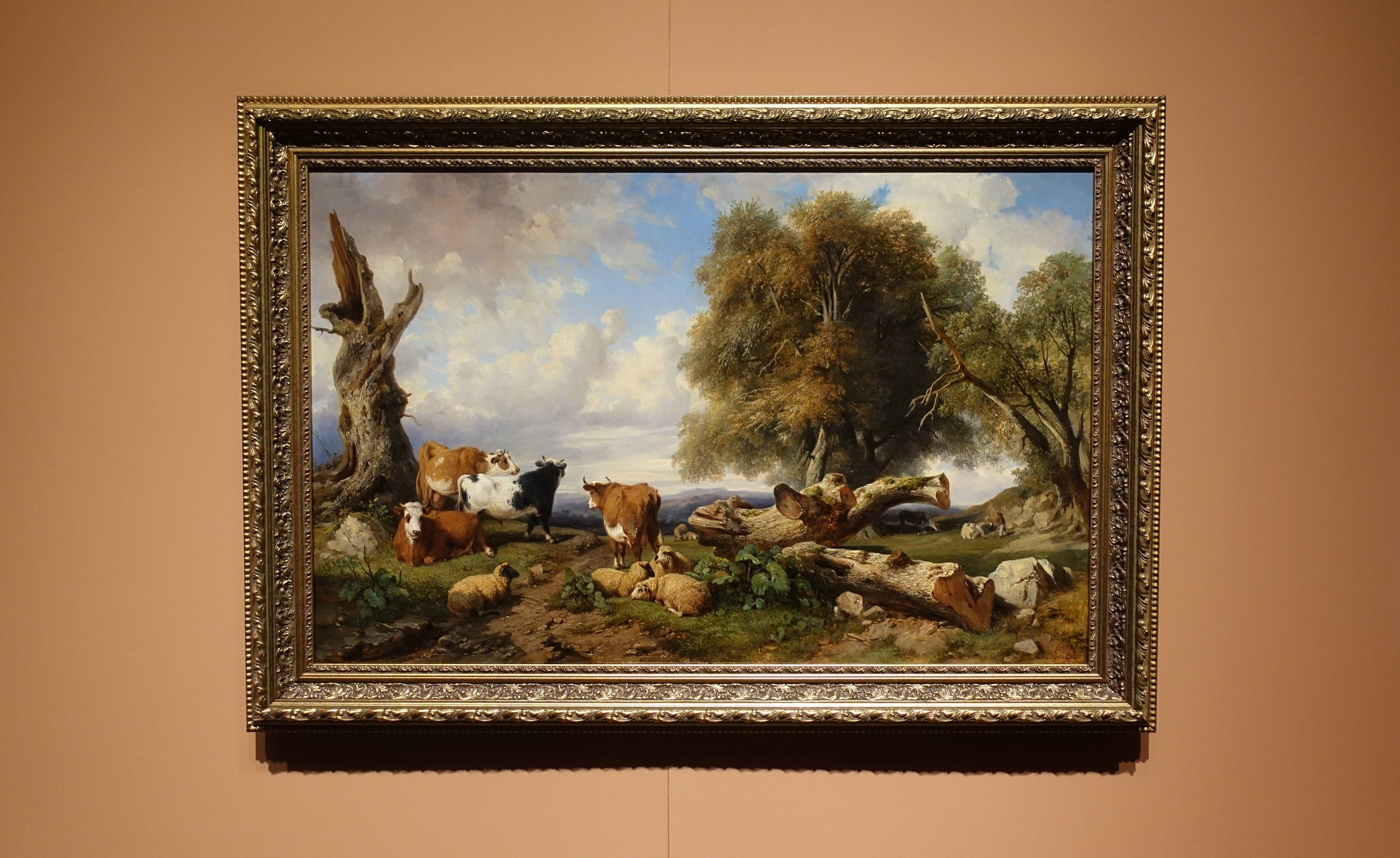 賈克-賀蒙•布哈卡薩 Jacques-Raymond Brascassat ,《有牛群的風景 Landscape with Cattle》,油彩、畫布 Oil on canvas。