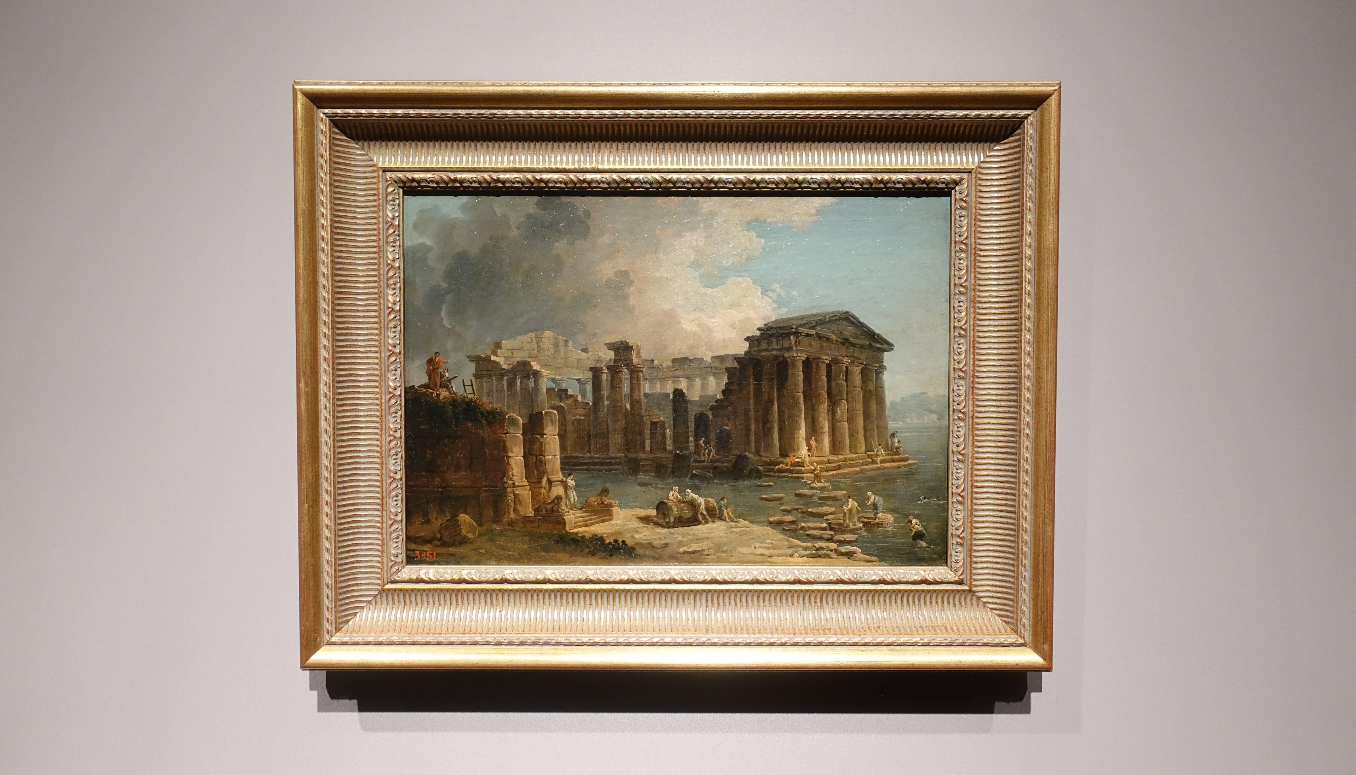 于貝•霍貝 Hubert Robert ,《被水環繞的神殿 Temple Surrounded by Water》,油彩、畫布 Oil on canvas。