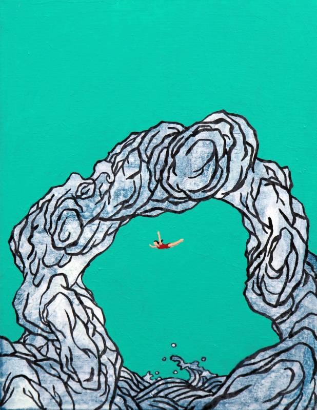 黃法誠,海蝕洞,2018年,45.5×38cm(8F),壓克力顏料.墨.畫布 / HUANG Fa-Chen,Sea cave,2018,45.5×38cm, Mixed media
