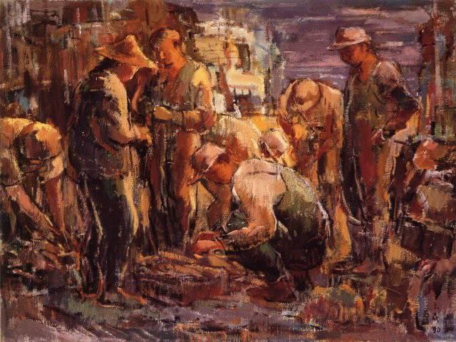 黃玉成|漁民圖系列|1990|油彩|72.5x91cm