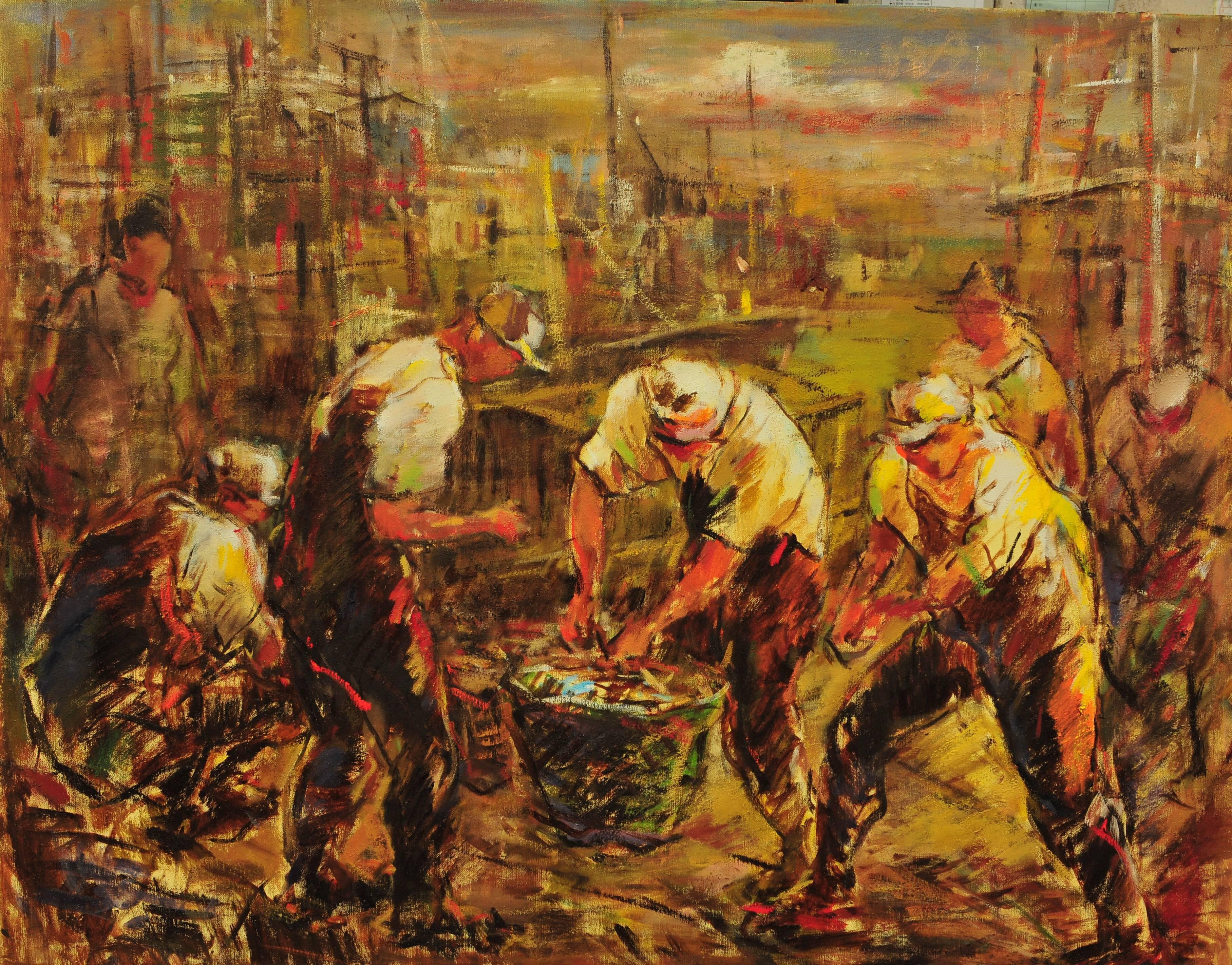 黃玉成|漁民圖II|2014|油彩|91x116.5cm