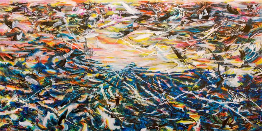 吟唱的河流3, 2017-18, 193x390cm, 壓克力、油彩、畫布