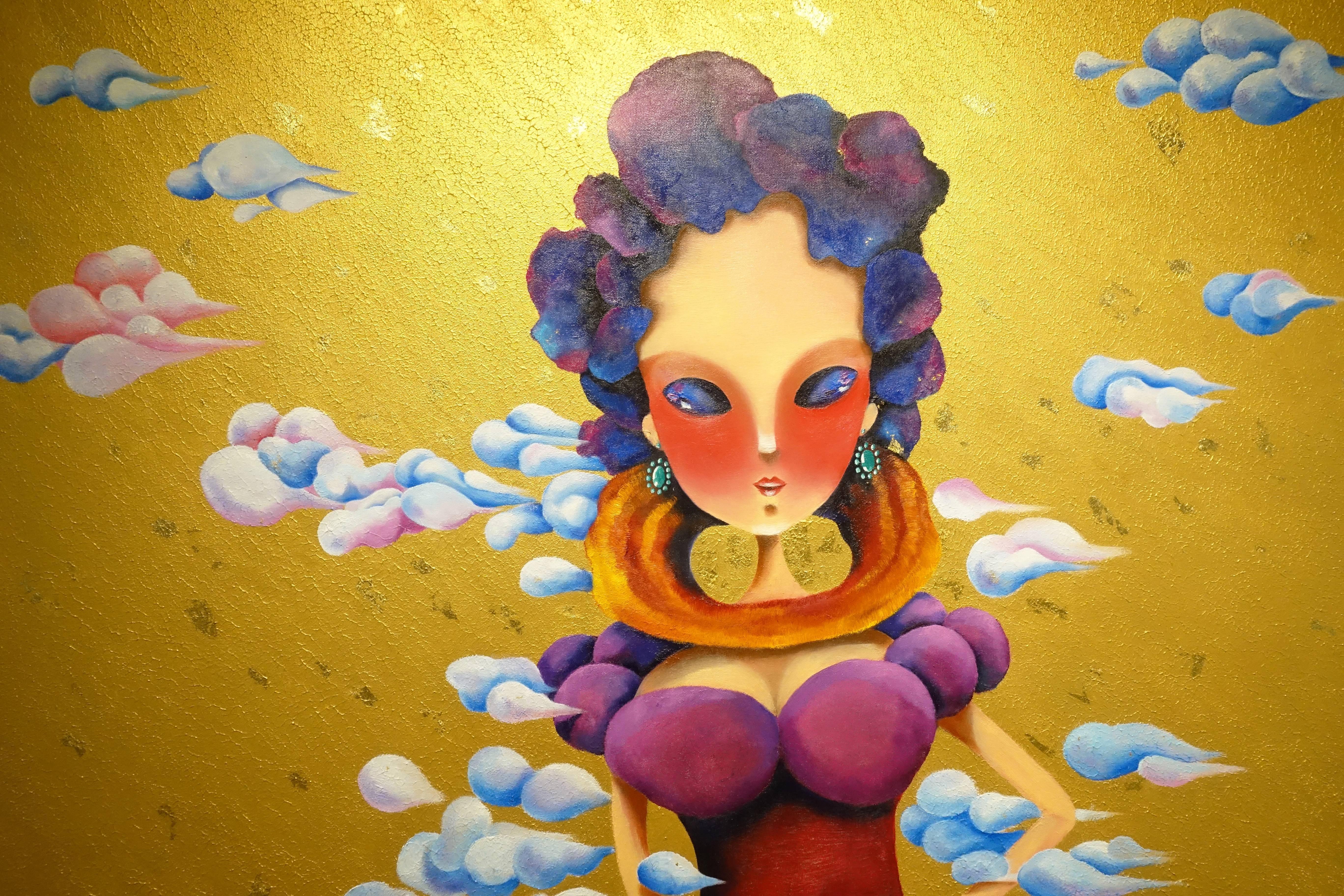 東明相,《在未來遇見自己(老娘NO.10)》局部,油畫,2016。