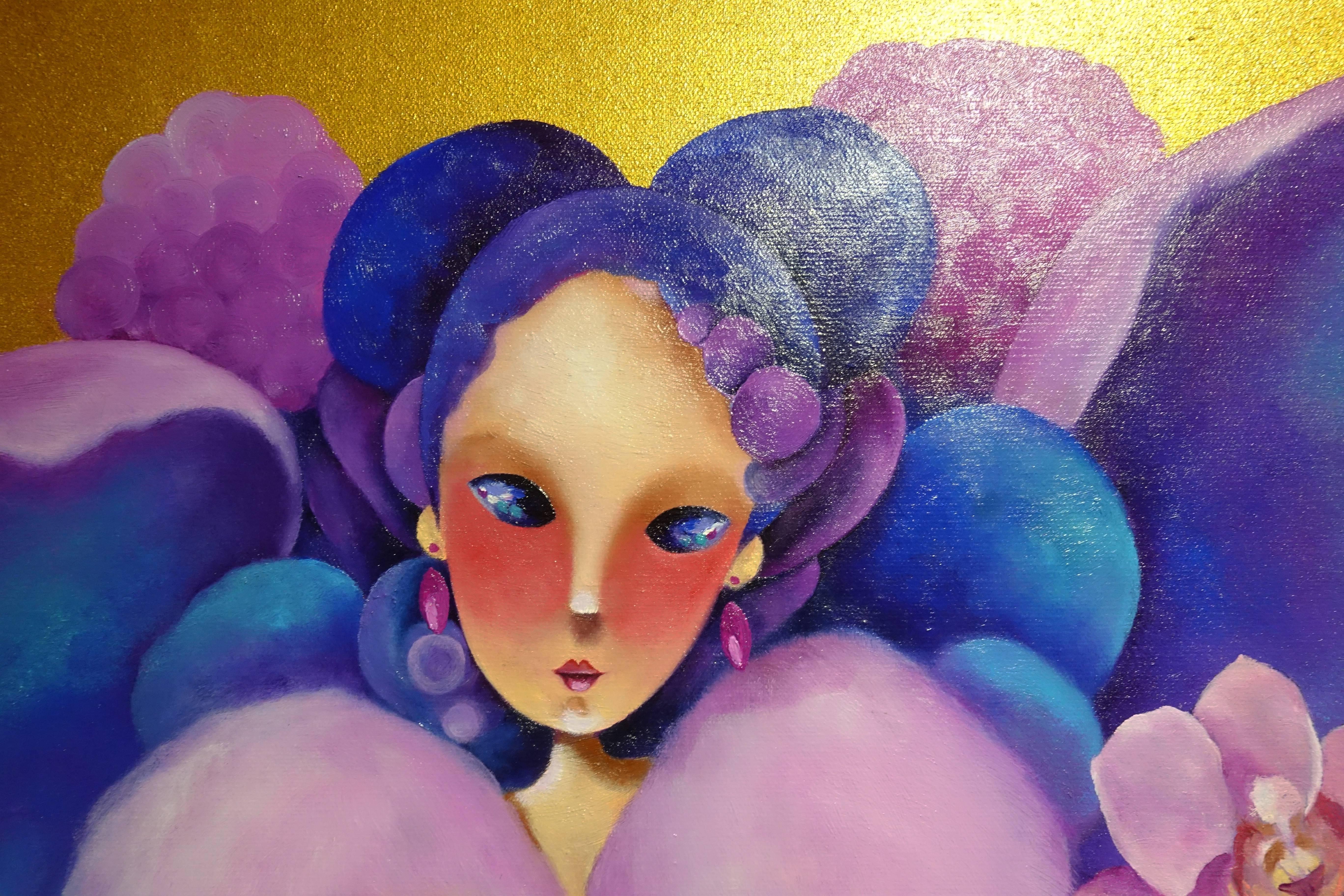 東明相,《獨領風騷(老娘NO.13)》局部,油畫,2016。