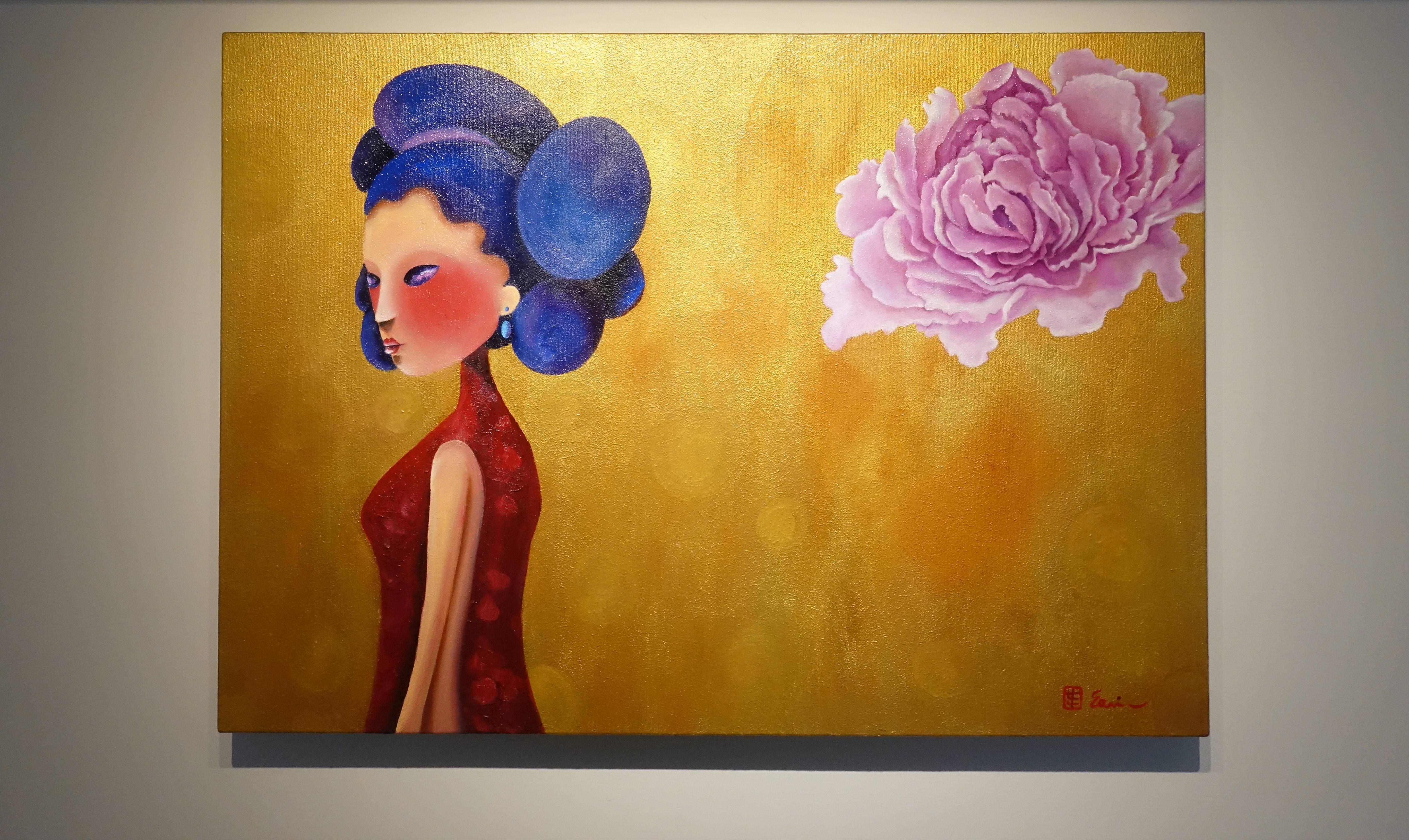 東明相,《飛花輕夢(老娘NO.9)》,油畫,2016。